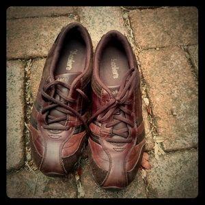 Skechers dark brown leather sneakers women sz 8.5